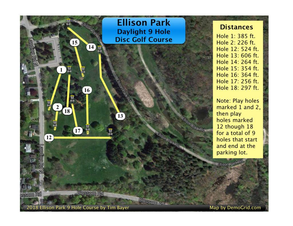 2018 Ellison Disc Golf 9 Hole Daylight Map.