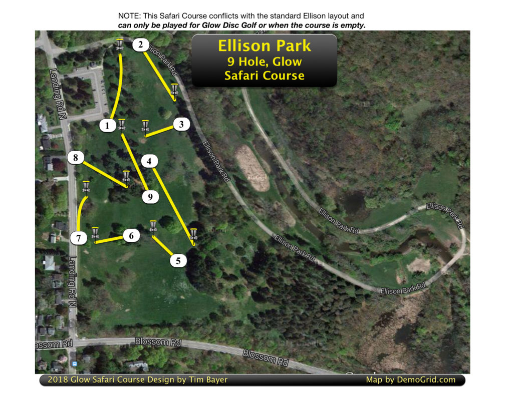 2018 Ellison 9 Hole Glow-Safari Map. NOTE: To avoid hitting other golfers, this course can only be played for Glow Golf or when course is empty.