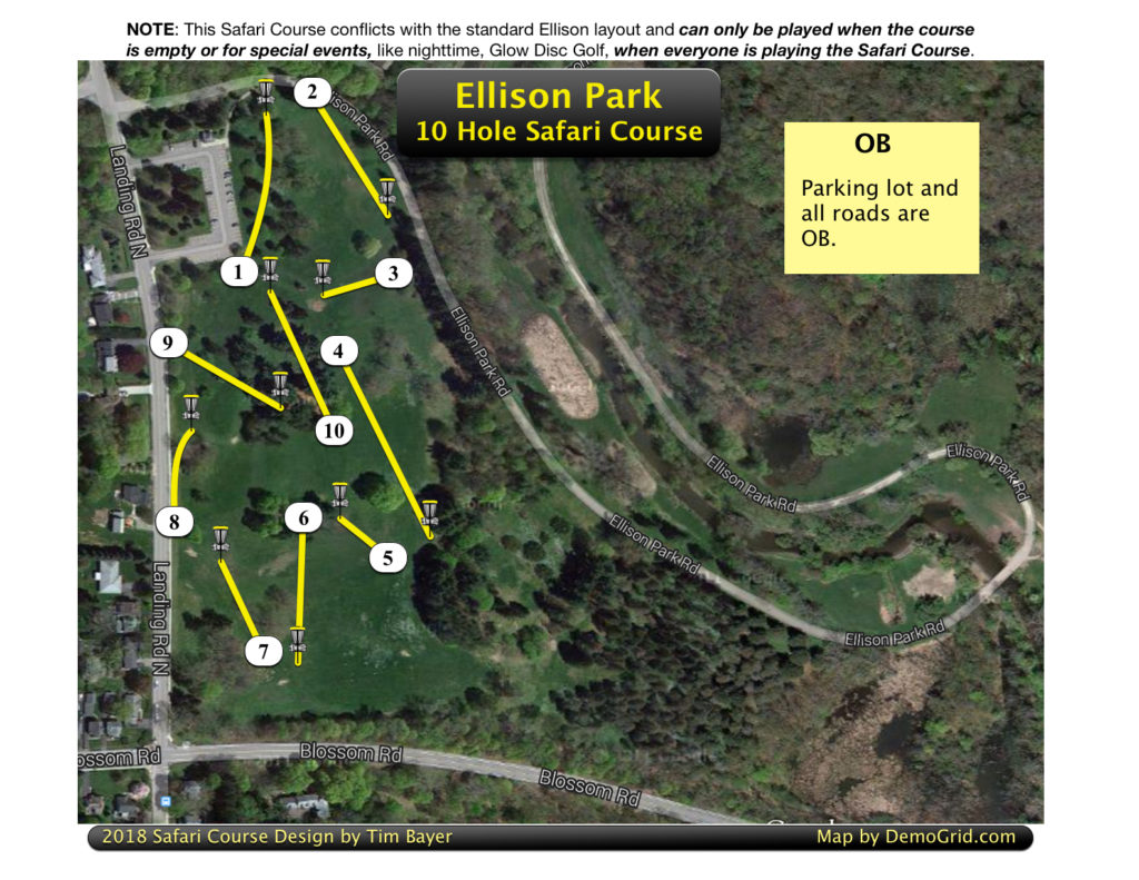 This Safari Course conflicts with the standard Ellison layout and can only be played for Glow Disc Golf or when the course is empty.
