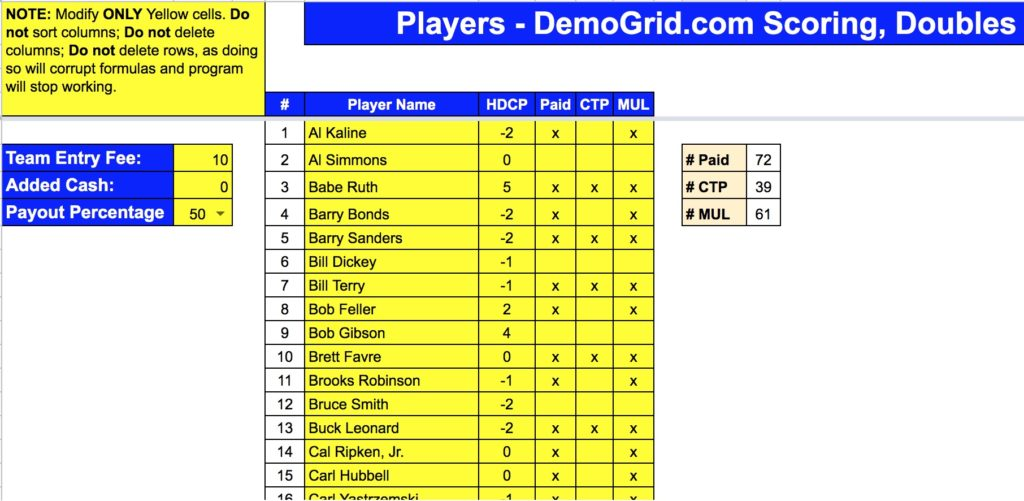 DemoGrid Doubles Automatic Scoring Player Check In