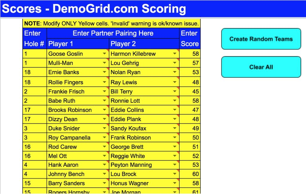 DemoGrid Doubles Scoring Automatic Random Partner Assignment